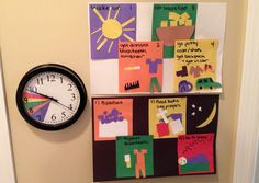 On Task & On Time: A children's color-coded responsibility clock and corresponding charts for school days and bed time. All you need are a $10 clock from Target, construction paper, a glue stick, and scissors! It works wonders!