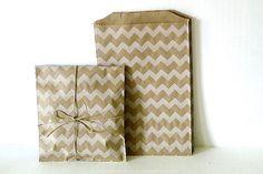 Medium CHEVRON Brown Kraft Paper Bags 5x7.5 - Set of 20 $5.50