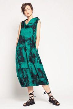 Verbena Dress in Emerald Print Carnaby