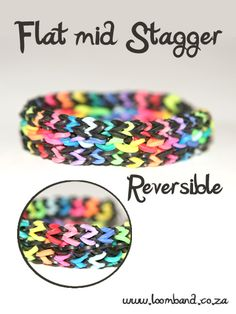 Reversible flat mid stagger loom band bracelet tutorial, instructions and videos on hundreds of loom band designs. Shop online for all your looming supplies, delivery anywhere in SA. Rainbow Loom Tutorials, Rainbow Loom Patterns, Rainbow Loom Bands, Rainbow Loom Bracelets, Loom Bands Designs, Loom Band Patterns, Loom Love, Fun Loom, Loom Band Bracelets