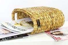 Wicker magazine basket Handmade book mail letter file