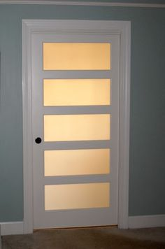 Frosted glass pocket door into Master Bathroom