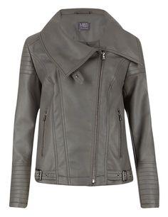 Funnel Neck Biker Jacket | M&S