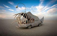 Toothy Car Burning Man