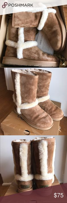 Authentic UGG Carter Chestnut Boots Authentic UGG Carter boots!! Chestnut. Lightly worn size 6! They have been treated when first bought with UGG protection spray! Super cute comfy cozy look for winter. *NO TRADES I WILL WORK WITH REASONABLE OFFERS ONLY* Original Retail $180 UGG Shoes Winter & Rain Boots