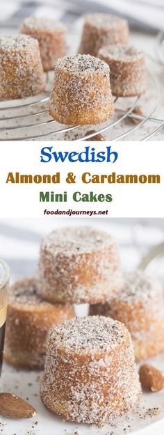 Swedish Almond & Cardamom Mini Cakes You get the taste of almond and cardamom in every bite of this soft and delicious cake. They come in small sizes too, so you can eat as many as you want! Perfect for desserts or snacks! Swedish Recipes, Sweet Recipes, Cake Recipes, Dessert Recipes, Swedish Almond Cake Recipe, Swedish Foods, Mini Desserts, Just Desserts, Small Desserts