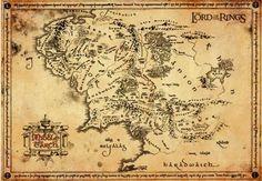 Edizione speciale della mappa della Terra di Mezzo su vera pergamena. Dimensioni: 67 x 47 cm circa.