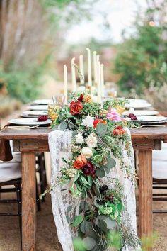 23 Wedding Trend-Unique Floral Wedding Garland Table Runner Ideas - The. Floral Wedding, Wedding Bouquets, Rustic Wedding, Wedding Greenery, Fall Wedding, Boho Wedding, Trendy Wedding, Spring Wedding Centerpieces, Dream Wedding