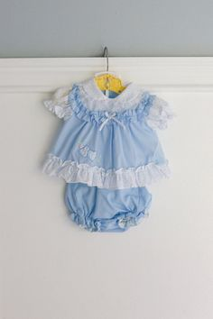 0-6 Months: Heart Pinafore Style Baby Outfit in Blue by Petitpoesy