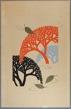 "Original japanese antique woodcut print Kawarazaki Kodo ""Trees"""