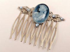 Eleganter Haarkamm in blau silber mit schönem von Schmucktruhe