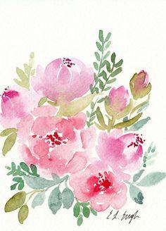 Pink Watercolor Florals original watercolor painting 5x7