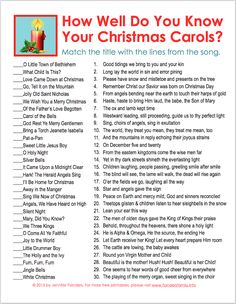 christmas printables UPDATE: Thanks to an alert reader who kindly let me know Id missed a typo, these files have been updated so my answer key now matches the actual quiz. Sorry for any frustration the first pos Xmas Games, Printable Christmas Games, Holiday Games, Christmas Activities, Christmas Traditions, Holiday Fun, Christmas Song Trivia, Christmas Party Games For Groups, Holiday Ideas