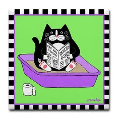 Tuxedo Cat in Litterbox (Green) - Art Tile Coaster