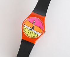 RARE Ladies Swatch LO001 Breakdance. This watch was Designed By Schmidt-Müller after a poster from Keith Haring. *new battery installed.*