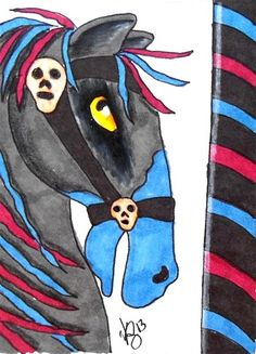 ACEO CAROUSEL GOTHIC HORSE ON EBAY