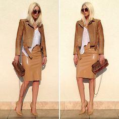 .@karleusastar | In my fav color ️ #junkoshimada jacket is  #chanel bag #topshop skirt #loubou... | Webstagram