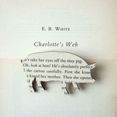 Classic book brooches made with original pages Charlotte's Web - Pig brooch. Classic book brooches made with original pages. via Etsy. Classic book brooches made with original pages. via Etsy. Charlotte's Web Book, Origami, Charlottes Web, Thing 1, Paper Jewelry, Old Books, Classic Books, Book Crafts, Pig Crafts