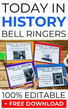 Today in History Bell-Ringers for the Entire Year Do you use bell ringers in your social studies class? Today in history bell ringers are a fantastic way to start your social studies classes because they help engage your students fro 7th Grade Social Studies, Social Studies Curriculum, Social Studies Notebook, Social Studies Worksheets, Social Studies Classroom, Social Studies Activities, History Activities, Science Worksheets, Science Curriculum