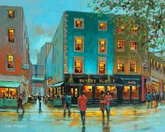 Peter's Pub, Dublin (code-458) by Chris McMorrow. Signed limited edition prints available from www.keelinggallery.com Dublin Pubs, City Art, Limited Edition Prints, Illustration, Artist, Art Ideas, Restaurants, Painting, Illustrations