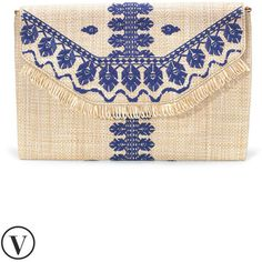 Stella & Dot City Slim Clutch - Embroidered Indigo (783.075 IDR) ❤ liked on Polyvore featuring bags, handbags, clutches, white handbags, ipad purse, white purse, summer handbags and summer purses