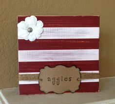 "Hand Painted Wooden Block Photo Holder ""Aggies"" Texas A&M University"