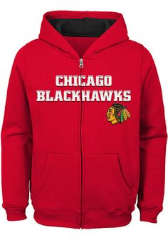 Chicago Blackhawks Boys Red Prime Long Sleeve Full Zip Hooded Sweatshirt -  13349149 efba73044