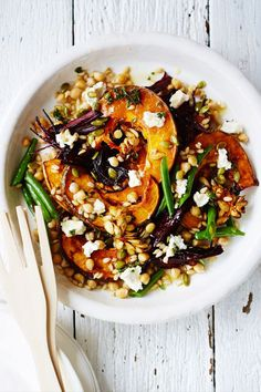 Healthy Roasted Pumpkin, Beet, Chickpea