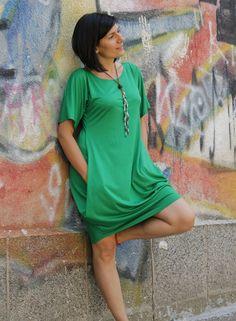 BELA 2 green short loose dress / tunic dress / party dress / short sleeves on Etsy, $48.00
