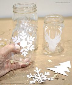 Christmas Mason Jar Luminaries DIY by Debbie Hayes of My Patch of Blue Sky | Modern Masters Metallic Paint