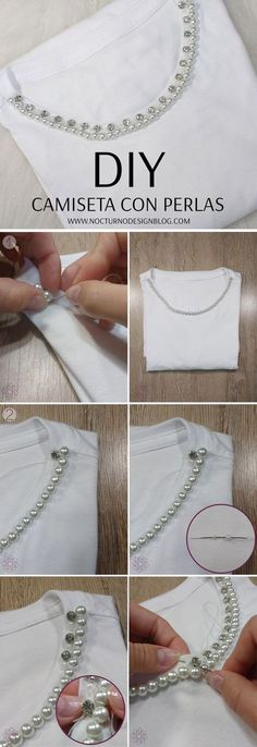 DIY: T-shirt with pearls Simple embroidery Simple Embroidery, Shirt Embroidery, Beaded Embroidery, Embroidery Designs, Diy Clothes And Shoes, Diy Clothing, Sewing Clothes, Fashion Sewing, Diy Fashion