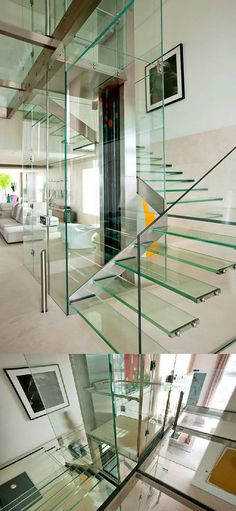 Glass elevator and glass floor in Malibu, Cali.