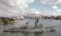 Here is a fine picture of HMAS PERTH leaving Fleet Base East on her way to exercises.  The photograph is particularly clear and was supplied by CAPT John Macdonald RAN (Retd) from Canberra.  John tells me that the picture was passed to him by Ray Vidler, who in turn says it was from Geoff Gutteridge. Navy Man, Us Navy, Navy Blue, Australian Defence Force, Royal Australian Navy, Battle Ships, Naval History, Navy Ships, Royal Navy