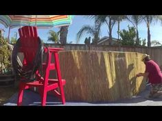 """We added a facade of reed fencing sections with """"zip-ties"""" to give our diameter Intex Ultra Frame Pool some Tiki appeal. Above Ground Pool, In Ground Pools, Pool Ideas, Backyard Ideas, Reed Fencing, Bamboo Screening, Intex Pool, Safety Cover, Facade"""