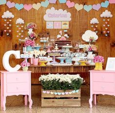 Chuva de amor perfeita 😍 by with… Happy Birthday Girls, Baby Birthday, 1st Birthday Parties, Girls Party, Baby Party, Cloud Party, Deco Floral, Unicorn Party, Birthday Decorations
