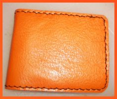 Handmade  satsuma orange leather man's wallet by g2p by G2Pleather, $22.99