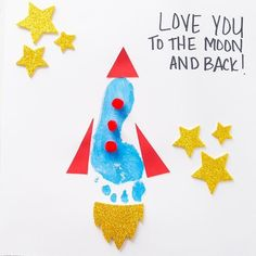 """This footprint rocket craft is perfect to make for Father's Day! Kids will love making their own rocket to add to the saying """"I Love You to the Moon and Back"""" or """"You're Out Of This World Dad"""". Kids Crafts, Kids Fathers Day Crafts, Fathers Day Art, Daycare Crafts, Baby Crafts, Toddler Crafts, Preschool Crafts, Fathers Day Gifts, Gifts For Kids"""