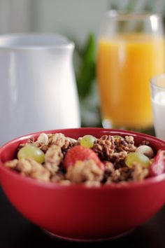 muesli, cereal, breakfast, granola, fruits, healthy, food, nuts, bowl, orange juice