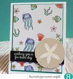 Card by Lisa Henke. Reverse Confetti stamp set: Mermaid Kisses. Confetti Cuts: Sand Dollar and Edge Essentials. Birthday card. Friendship card. Encouragement card. Congratulations card.