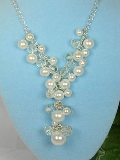 White Bridesmaid Cluster Pearl and Drop Necklace, Cluster Drop Necklace, Bridesmaids Necklace, Pearl Necklace, Wedding Jewelry  - CP1 by BridalTreasures4U on Etsy