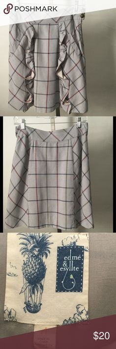 Anthropologie Edie & Esyllte Skirt, Size 4, Grey Anthropologie Edie & Esyllte Skirt, Size 4, Grey with Red, Blue & Green Stripes, Skirt is Lined, Shell is 100% Cotton, Lining 100% Acetate Anthropologie Skirts A-Line or Full