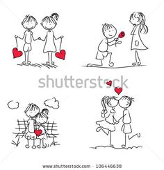 cute cartoon couple doodle with red heart shape - stock vector