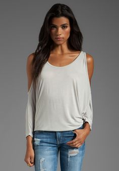 MICHAEL LAUREN Morris Oversized Open Shoulder Top in Cloud