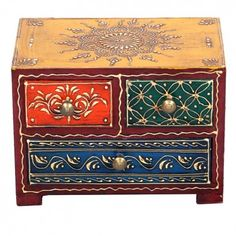 ArtsNyou -  Wooden Three Drawer Stand With Hand Embossed Painted HandCrafted