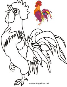 Imagen de gallos dificiles de dibujar y colorear Chicken Crafts, Chicken Art, Amazing Drawings, Art Drawings, Colouring Pages, Coloring Books, Vogel Quilt, Chicken Quilt, Chicken Pictures