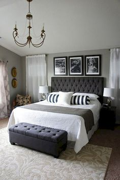 32 Simple Bedroom Design For Comfortable Home Decor , Many times, the bedroom becomes short-changed in regards to design. In the event the guest bedroom is looking like a shop space, below are some very s. Chic Master Bedroom, Farmhouse Master Bedroom, Master Bedroom Design, Trendy Bedroom, Modern Bedroom, Bedroom Designs, Bedroom Black, Cozy Bedroom, Bedroom Romantic
