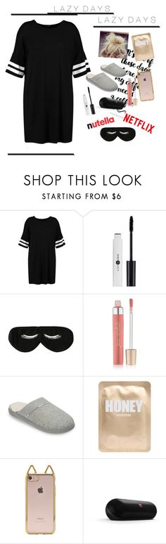 """""""LaZy DaYs"""" by classystyleer ❤ liked on Polyvore featuring Boohoo, BaubleBar, Jane Iredale, Dearfoams, Lapcos, Forever 21 and Beats by Dr. Dre"""