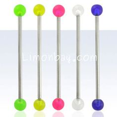 Piercing industrial acero con bolas UV (brillan con luz negra)
