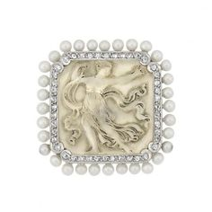 Belle Epoque Platinum, Carved Rock Crystal, Diamond and Seed Pearl Pin.