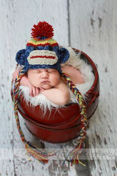 sock monkey hat....omg I luv this picture it reminds me of my Chunky Money baby boy.